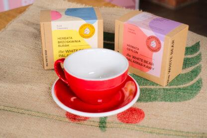 Filiżanka Loveramics 300 ml, herbata Ceylon 100 g, herbata brzoskwinia-burak 100 g