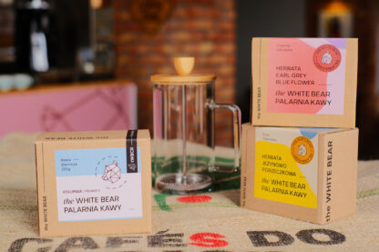 Zestaw Frenchpress 600 ml, 2x herbata 100 g, kawa ziarnista Kolumbia Meddelin 250 g