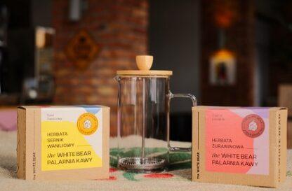 Zestaw Frenchpress 600 ml, herbata czarna żurawinowa 100 g, herbata sernik waniliowy 100 g